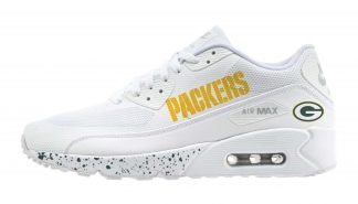 Green Bay Packers Green Splat Custom Nike Air Max Shoes White by BandanaFever.com