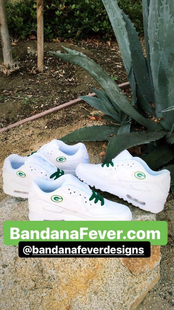 Green Bay Packers Green Splat Custom Nike Air Max Shoes White Insides at BandanaFever.com