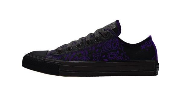 Purple Bandana Custom Converse Shoes Black/Purple Low by BandanaFever.com