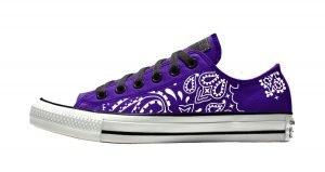 Purple Bandana Custom Converse Shoes Purple/Black Low by BandanaFever.com