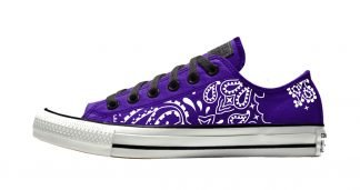 Purple Bandana Custom Converse Shoes Purple/Black Low by BandanaFever.com