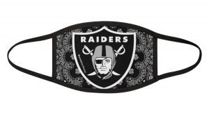 Las Vegas Raiders Black Bandana Custom Face Mask White by BandanaFever.com