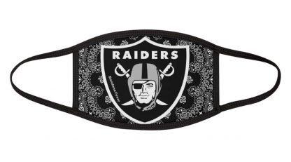 Las Vegas Raiders Black Bandana Custom Face Mask White by BandanaFever.com