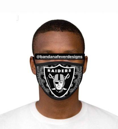 Las Vegas Raiders Black Bandana Custom Face Mask Black Model at BandanaFever.com
