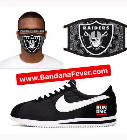Las Vegas Raiders Black Bandana Custom Face Mask Run-DMC Cortez at BandanaFever.com