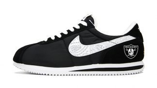 Las Vegas Raiders Mini Silver Bandana Custom Nike Cortez Shoes NBW Swoosh by BandanaFever.com