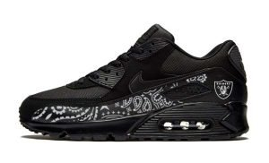 Las Vegas Raiders Silver Bandana Custom Nike Air Max Shoes Black by BandanaFever.com
