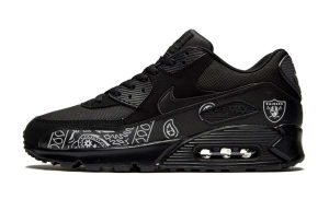Las Vegas Raiders Silver Bandana Teardrops Custom Nike Air Max Shoes Black by BandanaFever.com