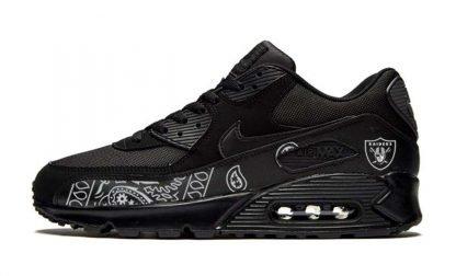 Las Vegas Raiders Silver Bandana Teardrops Custom Nike Air Max Shoes Black by BandanaFever.com