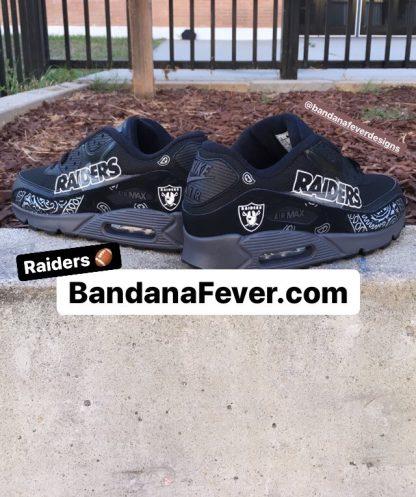 Las Vegas Raiders Silver Bandana Teardrops Custom Nike Air Max Shoes Black Pair at BandanaFever.com