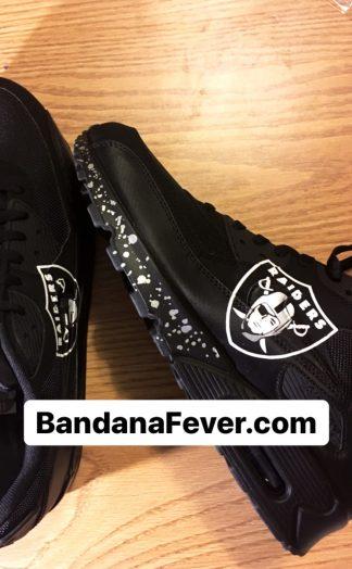 Las Vegas Raiders Silver Splat Custom Nike Air Max Shoes Black Sides at BandanaFever.com