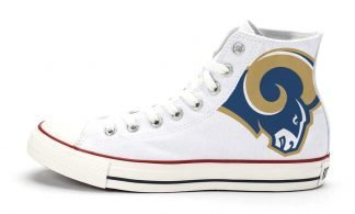 LA Rams Custom Converse Shoes White High by BandanaFever.com