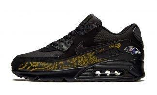 Baltimore Ravens Gold Bandana Custom Nike Air Max Shoes Black by BandanaFever.com