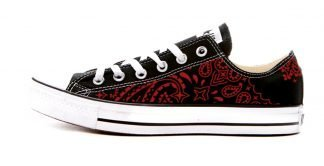 Red Bandana Custom Converse Shoes Black Low by BandanaFever.com