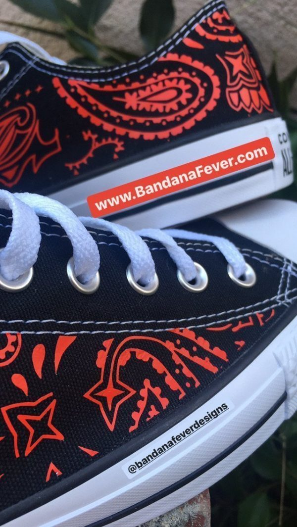 Red Bandana Custom Converse Shoes Black Low Close at BandanaFever.com