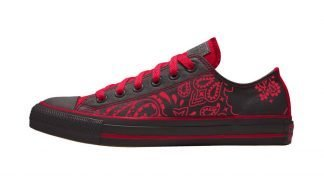 Red Bandana Custom Converse Shoes Black/Red Low by BandanaFever.com