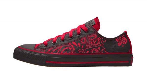 Red Bandana Custom Converse Shoes Black/Red Low by BandanaFever.com