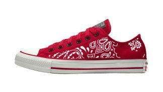 Red Bandana Custom Converse Shoes Red/Off-White Low by BandanaFever.com
