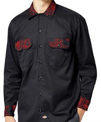 Red Bandana Custom Dickies Shirt LS Black by BandanaFever.com