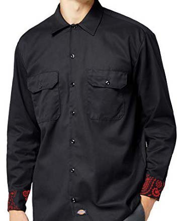 Red Bandana Custom Dickies Shirt LS Black Cuffs by BandanaFever.com