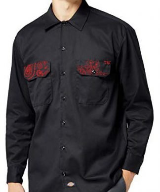 Red Bandana Custom Dickies Shirt LS Black Pockets by BandanaFever.com