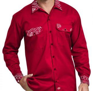 Red Bandana Custom Dickies Shirt LS Red by BandanaFever.com