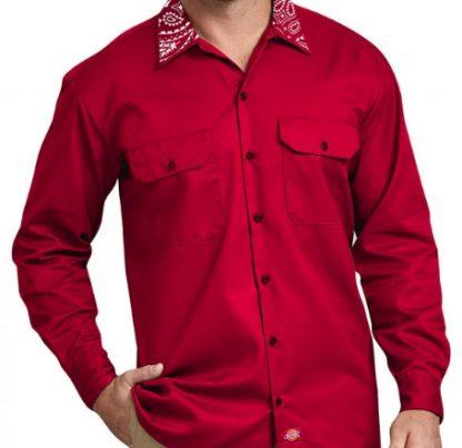 Red Bandana Custom Dickies Shirt LS Red Collar by BandanaFever.com