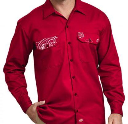 Red Bandana Custom Dickies Shirt LS Red Pockets by BandanaFever.com