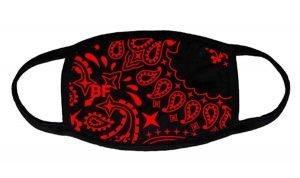 Red Bandana Custom Face Mask Black by BandanaFever.com
