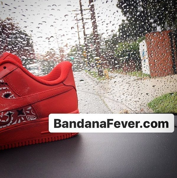 Red Bandana Custom Nike Air Force 1 Shoes Red Low Sides Close at BandanaFever.com