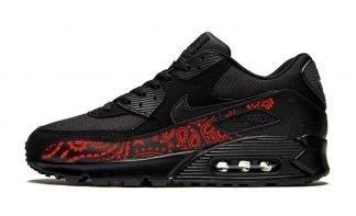 Red Bandana Custom Nike Air Max Shoes Black by BandanaFever.com