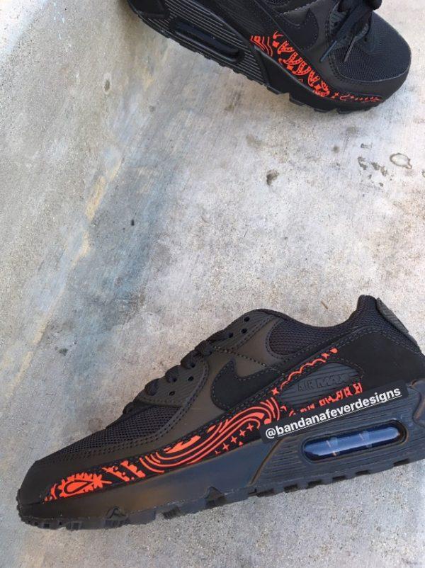 Red Bandana Custom Nike Air Max Shoes Black Close at BandanaFever.com