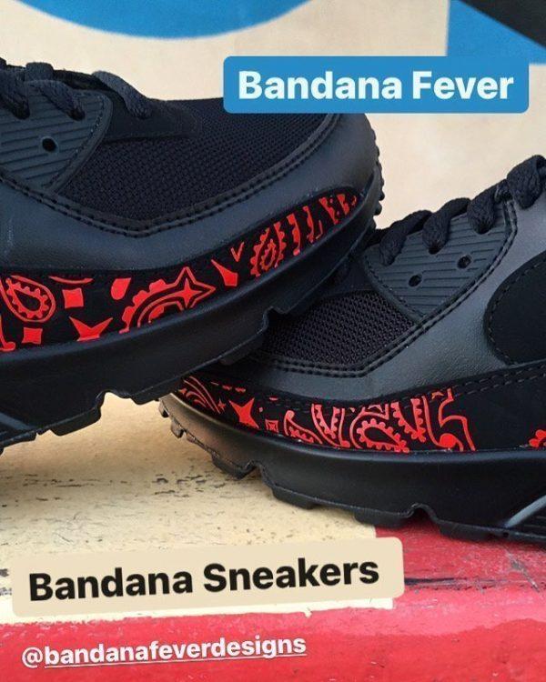 Red Bandana Custom Nike Air Max Shoes Black Front at BandanaFever.com