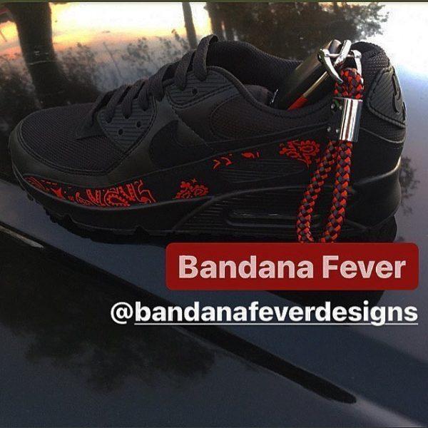 Red Bandana Custom Nike Air Max Shoes Black Main at BandanaFever.com