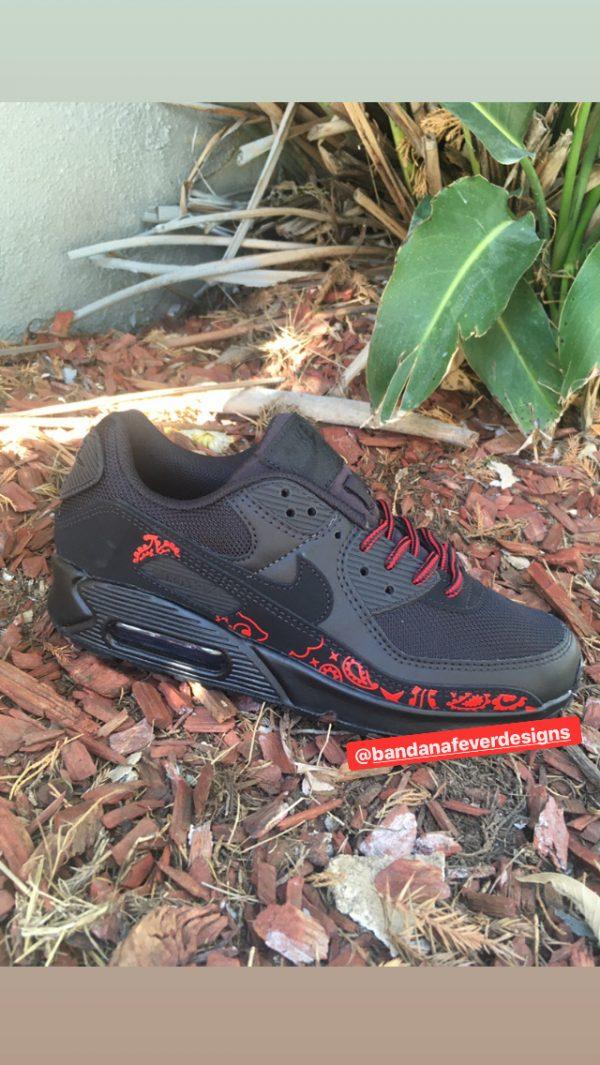 Red Bandana Custom Nike Air Max Shoes Black Sides at BandanaFever.com