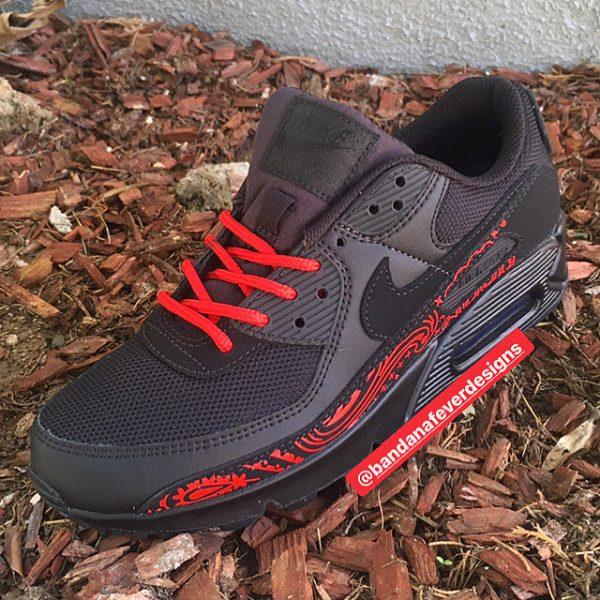 Red Bandana Custom Nike Air Max Shoes Black Toes at BandanaFever.com