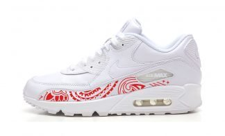 Red Bandana Custom Nike Air Max Shoes White by BandanaFever.com