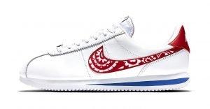 Red Bandana Custom Nike Cortez Shoes LWRB Swoosh by BandanaFever.com
