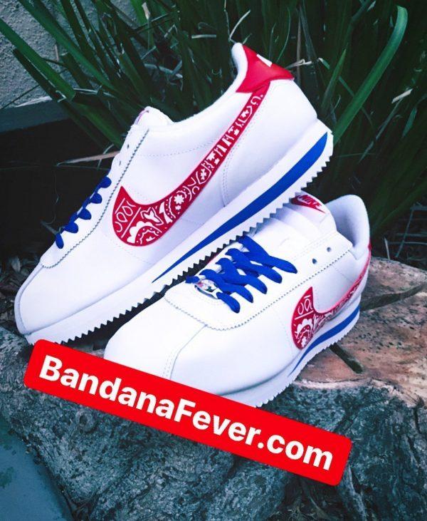Red Bandana Custom Nike Cortez Shoes LWRB Swoosh Stacked by BandanaFever.com