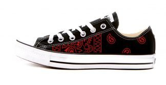Red Bandana Teardrops Custom Converse Shoes Black Low by BandanaFever.com