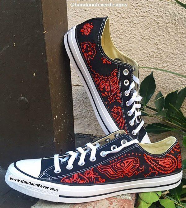 Red Bandana Custom Converse Shoes Black Low Stacked at BandanaFever.com