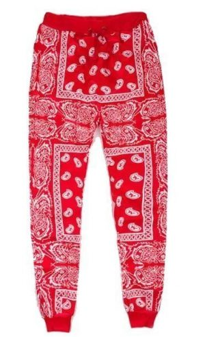 Red Bandana Teardrops Custom Joggers Red by BandanaFever.com