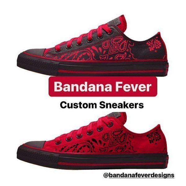 Red Black Bandana Custom Converse Shoes Red/Black Low at BandanaFever.com