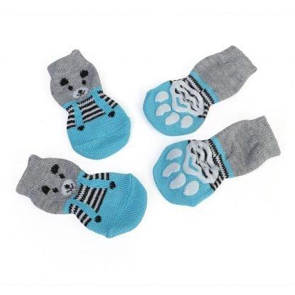 Hearts Bears Custom Dog Socks Cat Socks Bears Blue Sides at BandanaFever.com