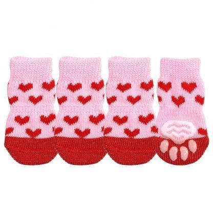 Hearts Bears Custom Dog Socks Cat Socks Hearts Pink 4 at BandanaFever.com