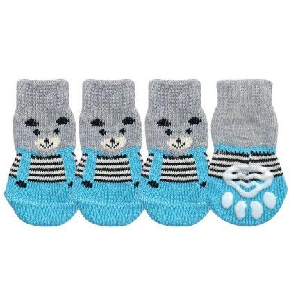Hearts Bears Custom Dog Socks Cat Socks Bears Blue 4 at BandanaFever.com
