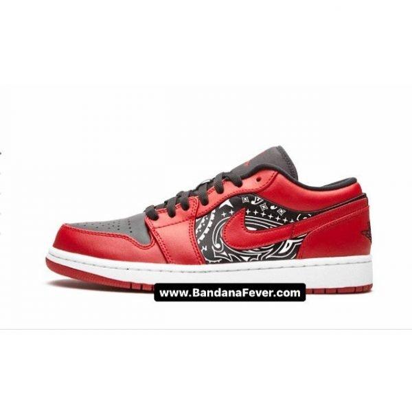 Bandana Fever Black Bandana Custom Nike AJ1 Shoes Reverse Bred Low Sides at BandanaFever.com