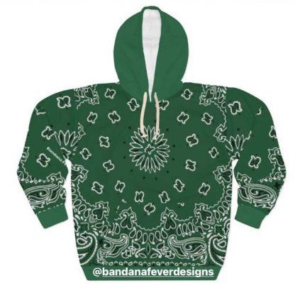 Bandana Fever Green Bandana Custom Hoodie Pullover Green at BandanaFever.com