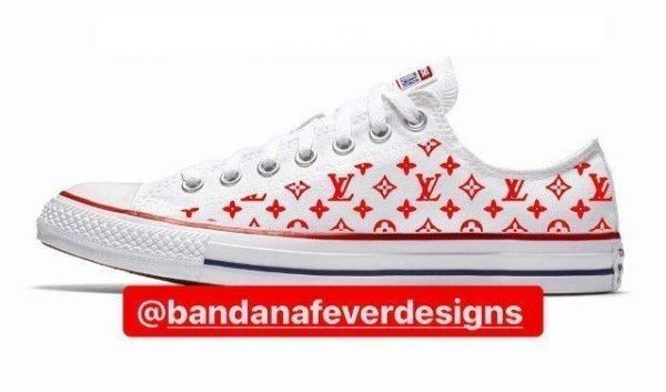 Bandana Fever Red Supreme LV Custom Converse Shoes White Low at BandanaFever.com