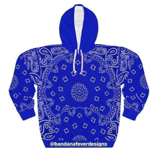Bandana Fever Royal Blue Bandana Custom Hoodie Pullover Blue at BandanaFever.com